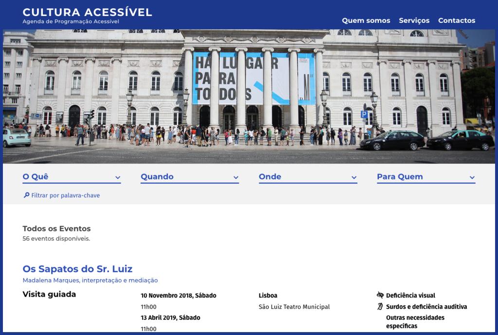 Captura de ecrã da página inicial da Cultura Acessível